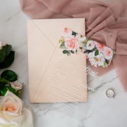 Faire-part mariage en acrylique plexiglas rose romantique