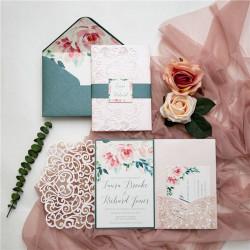 Faire-part de mariage aquarelle rose