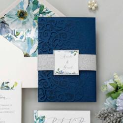 Faire-part de mariage aquarelle bleue