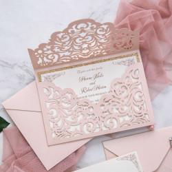 Faire-part de mariage pochette rose poudré