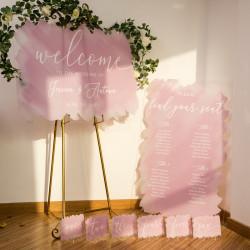 Panneau bienvenue ou plan de table en plexiglass dégradé rose