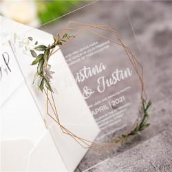 Faire-part mariage en acrylique plexiglas feuillage