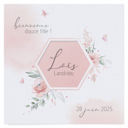 Faire-part de naissance Fleurs aquarelles 610051