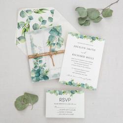 Faire-part de mariage branche d'olivier papier calque