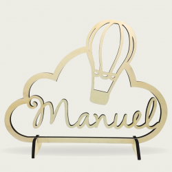 Présentoir en bois nuage avec personnalisation du prénom