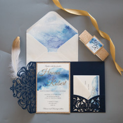 Faire-part de mariage aquarelle bleue et paillettes
