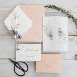 Faire-part de mariage fleurs aquarelles papier calque