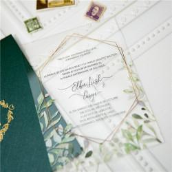 Faire-part mariage en acrylique plexiglas feuillage et cadre