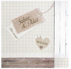 Faire-part de mariage bois et vichy 724032F