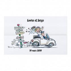 Faire-part de mariage jeunes mariés en voiture 727017