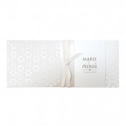 Faire-part de mariage pochette élégante en papier nacré 727035FR
