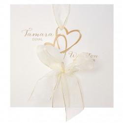 Faire-part de mariage classique avec cœurs 728016F