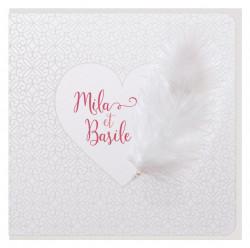 Faire-part de mariage - Cœur en plumes 728017F