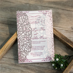 Faire-part mariage thème rose laser WPL0140