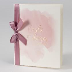 Faire-part mariage aquarelle rose et dorure 108.036