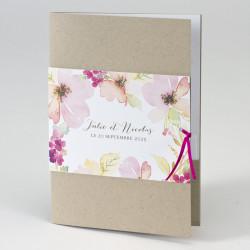 Faire-part mariage livret kraft jolies fleurs 108.062