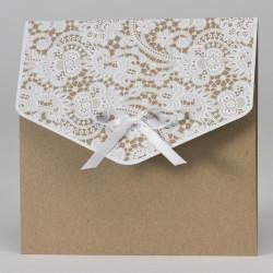 Faire-part mariage pochette avec impression dentelle 108.104