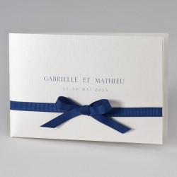 Faire-part mariage sobre avec ruban bleu 108.119