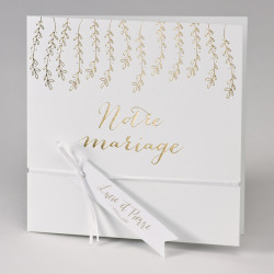 Faire-part mariage feuillage or 108.913