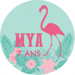Badge flamant rose Mya