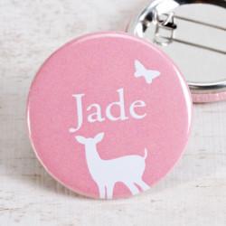 Badge animaux de la forêt rose