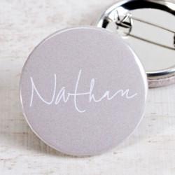 Badge carton gris et prénom