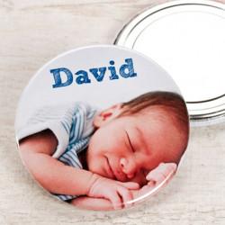Badge avec une photo et le prénom