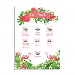 Plan de table thème exotique et flamants roses