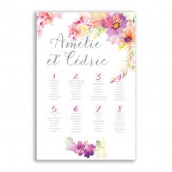Plan de table jolies fleurs aquarelle