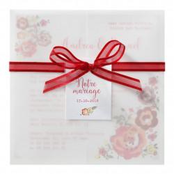 726039BF Faire-part mariage fleurs imprimées