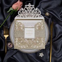 Faire-part de mariage pailletés doré WPL0019