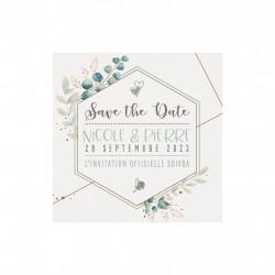 Save the date avec fleurs et détails dorés