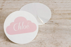 Stickers rond nuage rose 59 mm