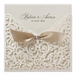 Faire-part de mariage chic, impression baroque et ruban