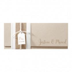 Faire-part de mariage sur papier kraft avec fourreau en jute