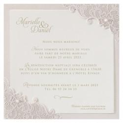 Faire-part de mariage avec dentelle et perles 725048F