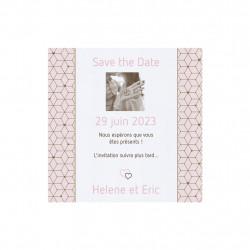 Save the date motif doré et rose