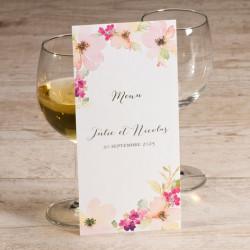Menu mariage kraft et fleurs roses pastel